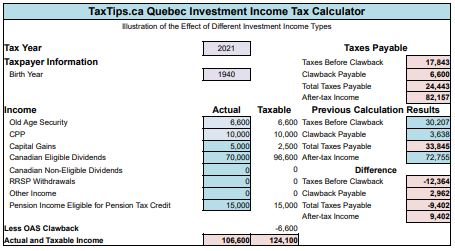 TaxTips ca - Quebec Investment Income Tax Calculator for